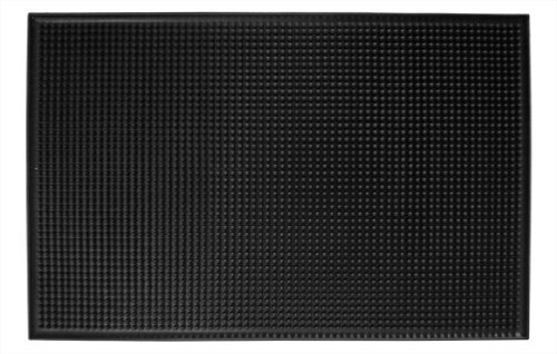 New Star Foodservice 48421 Rubber Bar Service Mat, Standard 18-Inch by 12-Inch Size, Black