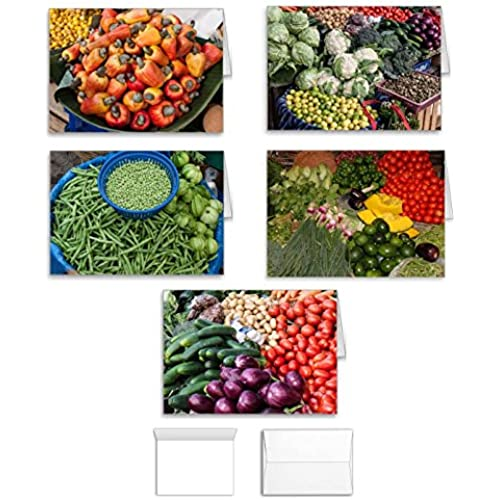 Vegetable Card Note Card Value Pack Gift Set - 10 to Use for Birthday, Thank You, Valentine, Christmas, or Any Sales