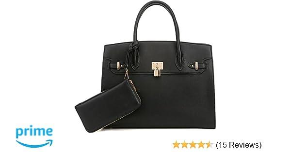 Amazon.com  DELUXITY Women s Designer Top Handle Satchel Handbag Tote Bag  Briefcase 2pc set  d9f4c4195bbea