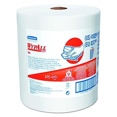 WypAll 41025 X80 Shop Towels, Jumbo Roll, 12 1/2w x 13.4l, White