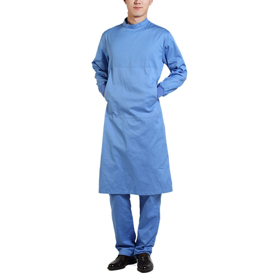 Pinji Surgical Gown Semi-coated Cotton Surgical Clothes High Temperature Resistance Workwear for Hospital Blue(Men) L