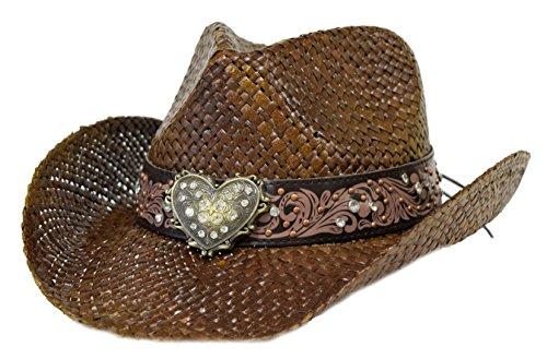 Bling Western Hat w/ Heart & Rhinestones / Chocolate