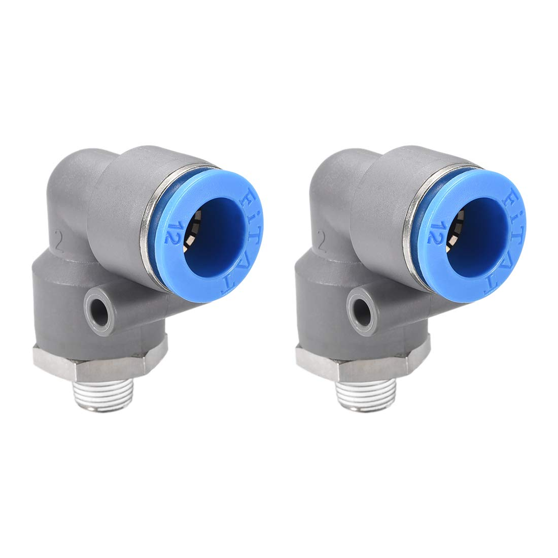 uxcell Elbow Push to Connect Air Fittings 10mm Tube OD X 1//8PT Male Thread Pneumatic Quick Release Connectors Grey 2Pcs