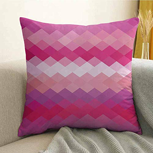 (Hot Pink Microfiber Cubism Inspired Modern Art Design with Vibrant Colored Diamonds Print Sofa Cushion Cover Bedroom car Decoration W16 x L16 Inch Pink Peach Fuchsia)