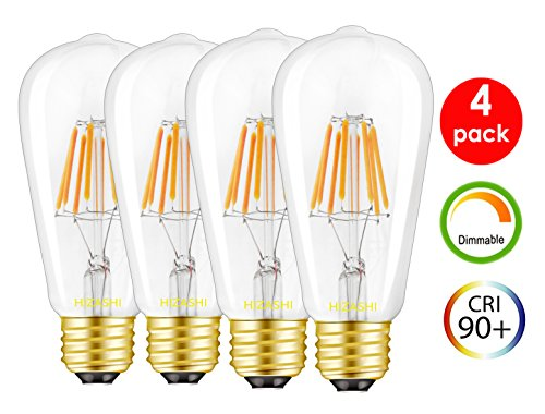 Hizashi Deep Dimming CRI 90+ Dimmable 4 Pack 80 Watt Vintage LED Squrriel Cage ST58(ST64) Edison Bulb 2700K E26 Medium Base Warm White