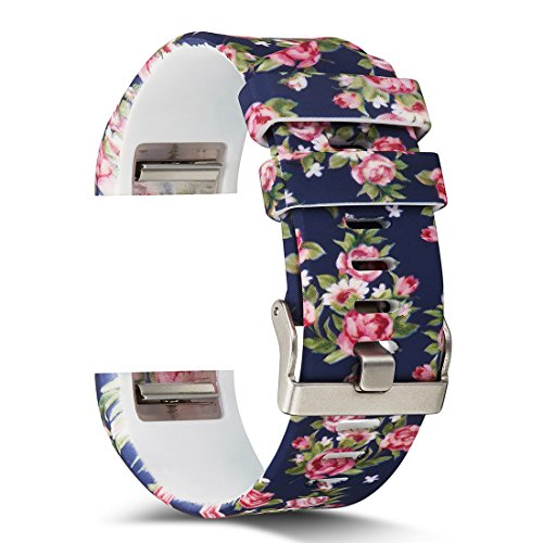 AIWELL Fitbit Charge 2 Bands,Silicone Adjustable Replacement Sport Strap Printed Bands Classic Buckle Fitbit Charge2 HR,Fitbit Charge 2 Accessories Wristbands (Pattern-11, -