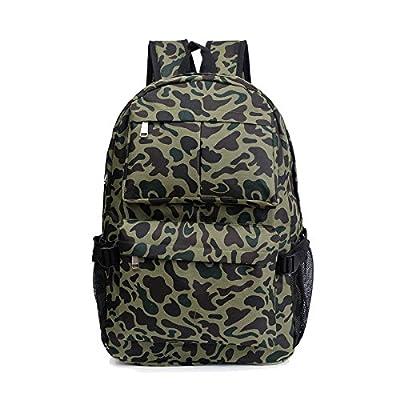 Weizhi Sac d'étudiant, la mode Camouflage Sac à dos grande capacité, garçons et filles,Green