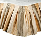 The Silk Cocoon TaupeI vory Beige toned striped faux silk inverted pleated Bed skirt or dust ruffles 18″ Drop (Twin (39″W X 80″L X 18″H))
