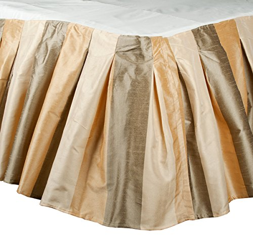 "The Silk Cocoon TaupeI vory Beige toned striped faux silk inverted pleated Bed skirt or dust ruffles 18"" Drop (king Size ( 78""W X 80""L X18""H))"