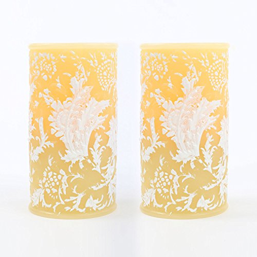 Candle Impressions Set of 2 Faux Wick Floral Flameless Spring Wedding Candle with Timer