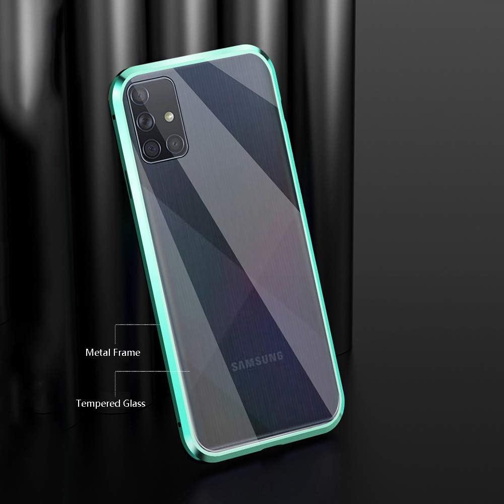 Bleu Antichoc Avant arri/ère Verre tremp/é Unibody Design Protecteur de cam/éra Aimants puissants Cadre int/égr/é M/étal Flip Cover CHBO Adsorption Magn/étique Coque pour Huawei Psmart 2020