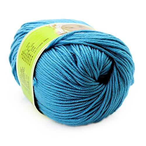 joylve Knitting Yarn Skein Baby Super Smooth Worsted Soft Natural Silk Wool Fiber Water Blue