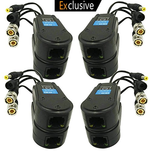 Video/Power Balun Upgraded 1080P 3MP 4MP Network Transceiver with RJ45 Connector Cat5/Cat6 Cable to BNC Male Adapter for Full HD Security Surveillance Camera System- 8Pack ()