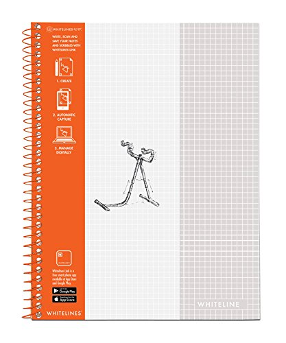 WhiteLines 17001cs Case of 12 Whitelines Notebooks, Grey Lined Paper, Background Disappears When You Scan Pages With Whitelines Free App, Case 11''x8.5'' Graph, Orange by WhiteLines (Image #1)