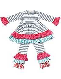 Qliyang Baby Girls Ruffle Dress Pants Holiday Clothing Outfits Kids Striped Dress
