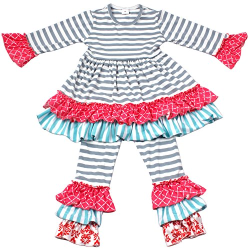 QLIyang Boutique Clothing Autumn Winter Spring Girls Ruffle Dress Pants Holiday Clothing Outfits Kids Striped Dress 2T -