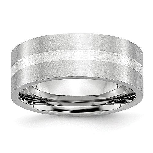 Cobalt Sterling Silver Inlay Satin 8mm Flat Band- Size 13 ()