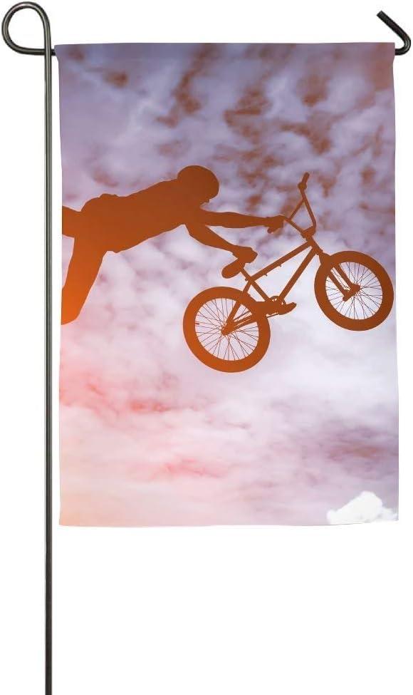 NA Hombres Bicicleta Salto Silueta Jardín Bandera Interior y ...