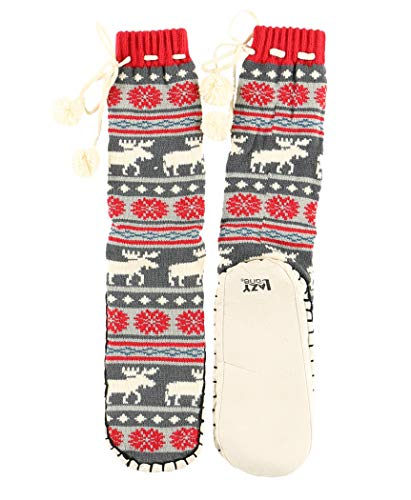 (Moose Fair Isle Womens Mukluk Warm Winter Bootie Sock by LazyOne | Cabin Moccasin Socks for Ladies (L/XL))