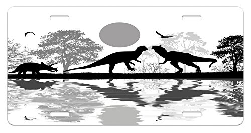 Dinosaur License Plate by Lunarable, Prehistoric Silhouettes in Landscape near Water with Tree Reflection Grunge Style, High Gloss Aluminum Novelty Plate, 5.88 L X 11.88 W Inches, Black - Bedroom Reflections
