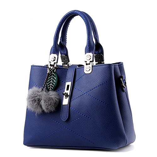 Pu Leather Pu Lady Bag Shoulder Blue Maniglie zw1qEnHq4