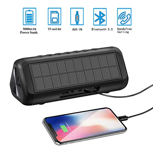 Bluetooth Speakers, Solar Bluetooth Speaker Portable Wireless Waterproof TWS with 5000mAH Battery 12W 50H Playtime Bluetooth 5.0 Speaker for Home Party, Shower, Car, Outdoor, Travel