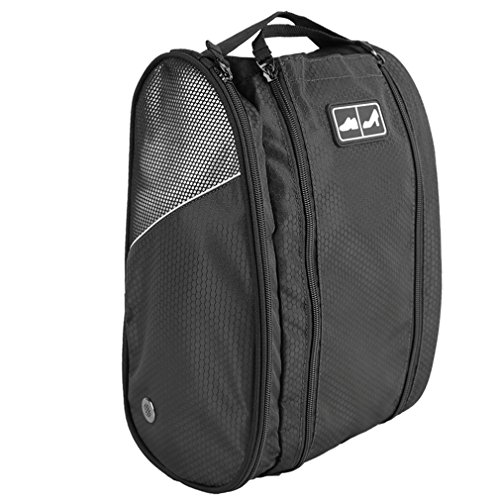 Golf Shoe Bag Travel Sport Gym Yoqa Sock Organizer Odor Resistant Large Zipper Space Shoe's Bag for Men and Women (Black) by skyvlv (Image #8)
