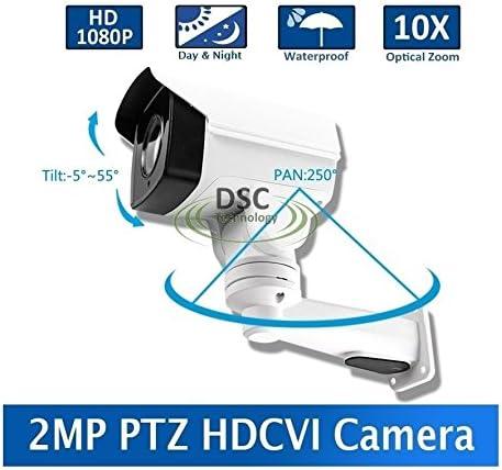 DiySecurityCameraWorld-2MP CMOS HD-CVI MINI PTZ BULLET CAMERA 10X OPTICAL ZOOM 1080P 5.1-51mm LENS IP66, BNC 12VDC