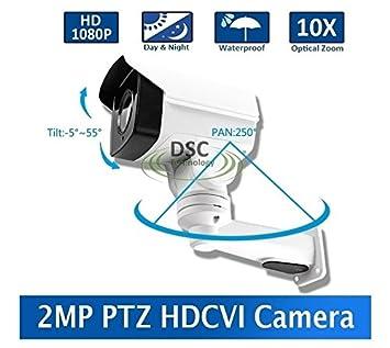 DiySecurityCameraWorld-2MP CMOS HD-CVI MINI PTZ BULLET CAMERA 10X OPTICAL ZOOM 1080P 5.1-5mm LENS IP66, BNC 12VDC