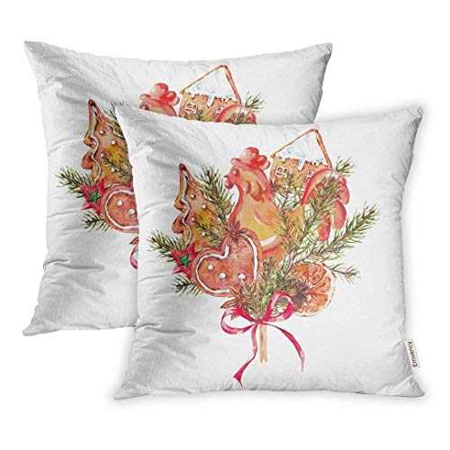 ZOZGETU Pillowcase,Watercolor Christmas Bouquet of Gingerbread Cookies Fir Branches Rooster Lollipop on Stick Year Holiday Throw Pillow Covers Cover Set of 2 18 X 18inch Two Side Pillowcase Cases Cas ()