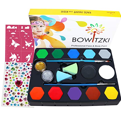 Bowitzki Face Paint Kit for Kids, 12 Colors, 40 Stencils, 2 Large Black &White, 2 Glitter, 2 Brushes, Non Toxic Water Based FDA Compliant Professional Makeup Body Painting]()