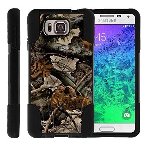 TurtleArmor | Samsung Galaxy Alpha Case | G850 [Gel Max] Hybrid Dual Layer Hard Shell Kickstand Silicone Case - Tree Leaves Camouflage