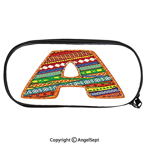 Large Capacity Student Pencil-boxAlphabet A Writing Typography Mosaic Effects Language School Education Graphic Art Fashion Cute Animals PU Pencil HoldersMulticolor