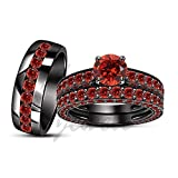 ArtLine Jewels Red Garnet Gemstone Trio Set 14K Black Gold Fn Bride & Groom Engagement 3Pcs Ring Set