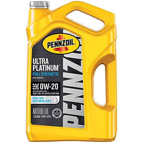 Pennzoil Ultra Platinum Full Synthetic Motor Oil 0W-20, 5 Quart - Pack of 1