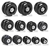 Airkoul Black Luggage Suitcase/Inline Outdoor Skate Replacement Wheels with ABEC 608zz Bearings (45X19mm)