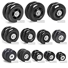 Description  Brand New And High Quality Luggage / Inline Skate Replacement Wheels  Deluxe Black Wheel Line  Black soft-ride durometer tire molded over a durable injection molded core rim  Smooth running wheel with (2) Ball Bearing center hubs...