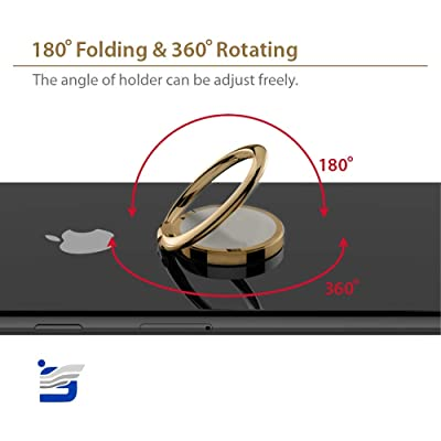 Phone Ring Holder Finger Kickstand 360 Degrees Rotation 180 Degrees Fold Metal Ring Grip for Magnetic Car Mount Compatible with All Types Smartphones Golden (Golden)