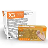 X3 Clear Vinyl Industrial Gloves, Case of 1000, 3