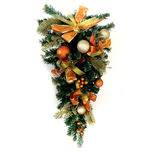 ALEKO CHDG26G Holiday Christmas Adorned Garland Teardrop Swag Gold and Copper ()