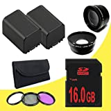 TWO BP-819 Lithium Ion Replacement Battery + 16GB SDHC Class 10 Memory Card + 58mm 3 Piece Filter Kit + 58mm Wide Angle Lens + 58mm 2x Telephoto Lens for Canon Vixia HFG10 XA10 HFS10 HFS20 HFS21 HFS30 HFS100 HFS200 Digital Camcorder DavisMAX BP819 Accessory Bundle