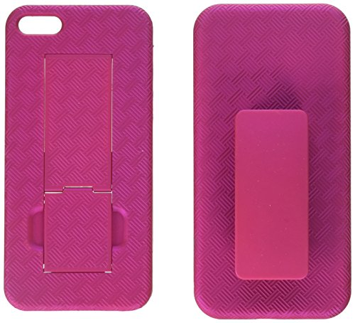 MYBAT IPHONE5HBHOLSFTTR62WP Shell Holster Combo Case for Samsung Galaxy with Kick-Stand and Belt Clip for Apple iPhone 5 / iPhone 5S - Retail Packaging - Hot Pink