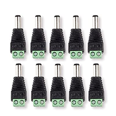 DCFun 5.5mm x 2.1mm DC Jack Connector -DC Plug Male to Screw Terminal Adapter for LED Tape Strip Light and DC Power Connections 10-Pack