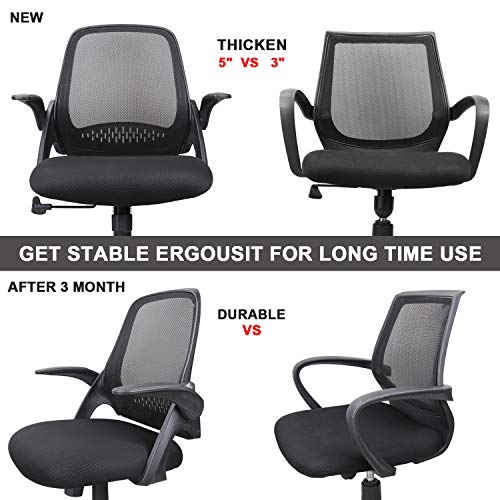 Ergousit Mid-Back Mesh Office Chair, Ergonomic Desk Chairs Swivel Computer Task Chairs with Adjustable Height and Flip-up Armrest - Lumbar Support and Sponge Cushion in Black (Black) by Ergousit (Image #3)