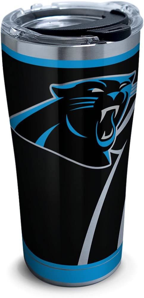 Tervis 1299989 NFL Carolina Panthers Rush Insulated Travel Tumbler with Lid 20oz - Stainless Steel, Silver