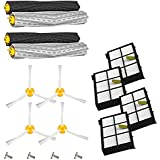 Amyehouse 12pcs Replenishement Kit for iRobot Roomba 800 900 Series 805 860 870 871 880 890 960 980 Vacuum Accessories,Replacement Parts with 2 Set Extractor & 4 Filters & 4 Side Brush