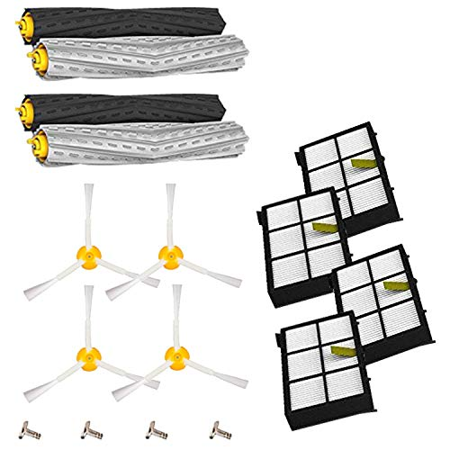 Amyehouse 12pcs Replenishement Kit for iRobot Roomba 800 900 Series 805 860 870 871 880 890 960 980 Vacuum Accessories, Replacement Parts with 2 Set Extractors 4 Filters 4 Side Brushes & Screws ()