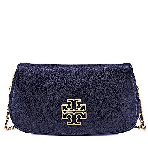 Tory Burch Britten Clutch Leather Crossbody Bag - Bag Blue Burch Tory