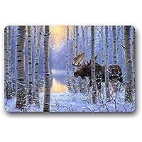 Shirleys Door Mats Custom It On The Move Painting Winter Snow Animals Forest Moose Design Rectangular Decor Non Slip Doormat Rug Cover Pad Outdoor Indoor 15.7 By 23.6