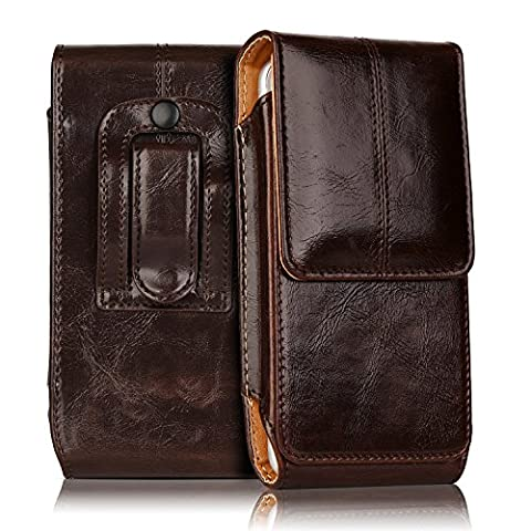 iPhone 7 Plus Pouch Case, iNNEXT Real Leather Vertical Holster Belt Clip Carrying Case Pouch with Magnetic Closure for Apple iPhone 6 Plus / iPhone 6S Plus / iPhone 7 Plus 5.5 inch - Iphone Vertical Case